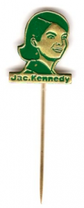 A lapel pin of Jacqueline Kennedy made in Holland during the 1960 campaign but selling better during Kennedy state visits to Europe. (loriferber)