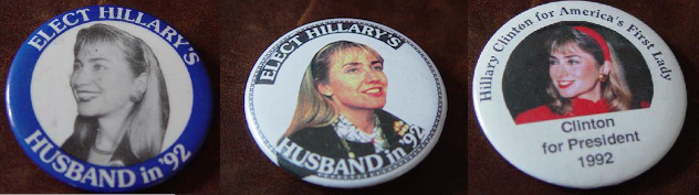 Pins from the Democratic presidential primaries invariably depicted Hillary Clinton in her headband, symbolic of her busy life as both a political spouse and professional attorney. (private collection)
