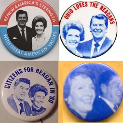 The Reagans began appearing jointly on campaign pins early on, during the primaries and through the general election. (historyteacher.net, ebay, ronwade, campaignbuttons-etc.com)