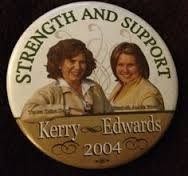 This 2004 pinback paired Teresa Kerry with Democratic vice presidential candidate's spouse Elizabeth Edwareds. (pinterest)
