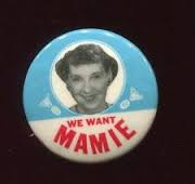 One of the few Mamie Eisenhower buttons that used her face. (ebay)