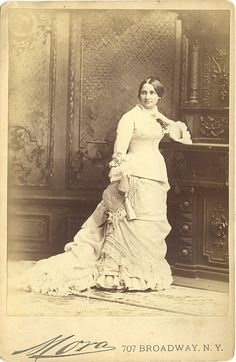 A cabinet card sold to the public of Liucy Hayes. While some sources list it as being made in 1880, thus during the campaign, it is known that she posed for the photographer who went only by the name of Mora, in 1877, when she was Firstr Lady. (pinterest)