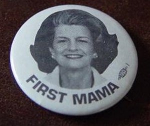"""This button references Betty Ford's CB """"handle"""" (nickname). (ebay)"""