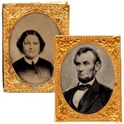 """The matching pair of """"badges,"""" of the Lincolns worn by Republican supporters of his 1864 re-election. (New York Times)"""