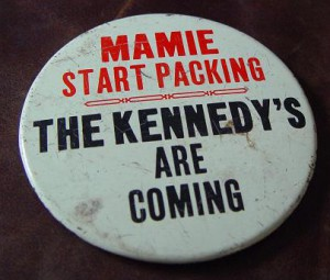 The button slogan that would become a regular feature of presidential campaigns to come, simply with a changing of an incumbent First Lady's first name and the last name of the presidential candidate of the opposition party. (ebay)