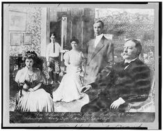 The odd print using photographs of Nellie Taft and her family set in a drawing room - that was drawn. (Library of Congress)