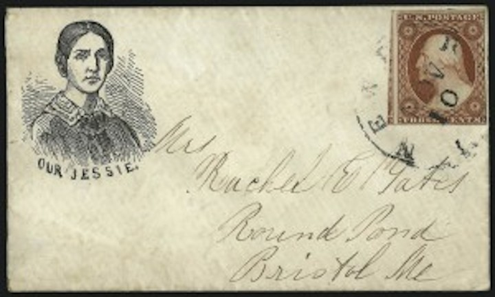 An envelope cover showing Jessie Benton Fremont alone, used by her husband's supporters of his 1856 presidential candidacy.