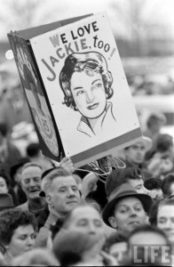 A homemade sign depicting Jackie Kennedy at a rally where her husband was speaking. (Life)