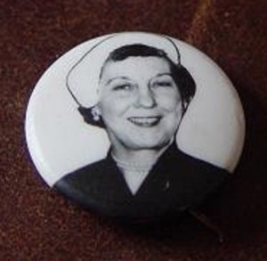 A wordless image of the popular First Lady was used in Eisenhower's 1956 re-election campaign. (ebay)