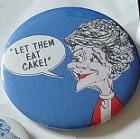 This 1984 caricature button critical of Nancy Reagan for her White House style. (ebay)