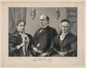 The McKinley family print, the candidate sitting between his wife Ida and mother Nancy. (Library of Congress)