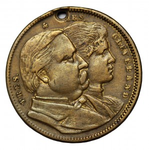 A coin depicting both Clevelands with a hole drilled at the top, so it could be worn as a campaign emblem. (pinterest)