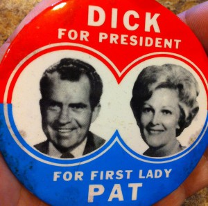 Pat Nixon was featured as a partner on this 1968 button. (ebay)
