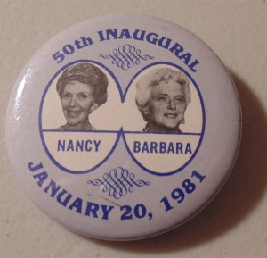 First of its kind, a 1981 Inauguration button, depicting the victorious candidates spouses - without their husbands.  (pinterest)