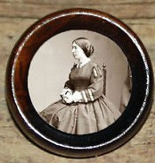 A contemporary item that likely resembles the 1868 presidential election badges that depicted Mrs. Ulysses S. Grant during her husband's first campaign. (ebay)
