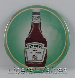 This simple button with a ubiquitous Heinz brand ketchup bottle referenced the wealth of Teresa Kerry, inherited after the death of her first husband, heir to the company and a Republican U.S. Senator from Pennsylvania. (pinterest)