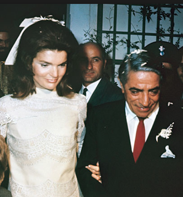 Jacqueline Kennedy moments after her wedding to Aristotle Onassis. (grreport.info)