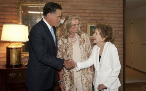 Nancy Reagan formally endorsed 2012 Republican presidential candidate Mitt Romney in a meeting with him and his wife Anne. (telegraph.co.uk)