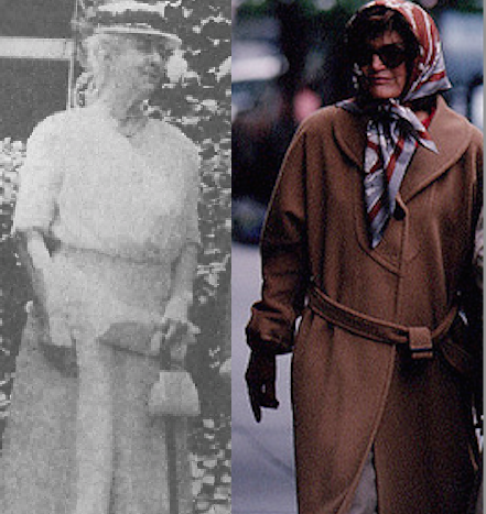 Frances Cleveland Preston and Jacqueline Kennedy Onassis, the only two presidential widows who remarried, shown shortly before their deaths in 1948 and 1994, respectively. (NFLL, Pinterest)