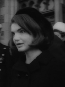 Jacqueline Kennedy in widow's black at a spring 1964 memorial service for her late husband. (NBC Archival Footage)