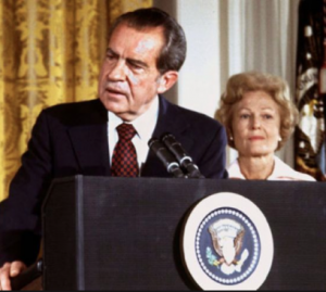 Pat Nixon listens to her husband deliver his resignation speech. (Fox News)