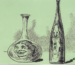 A cartoon showing a smiling Lucy Hayes in a water decanter and a frowning one in a wine bottle.(Hayes Center)