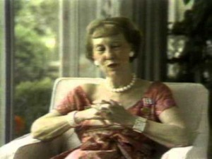 Mamie Eisenhower taping a television campaign commercial for Nixon in 1972. (youtube)
