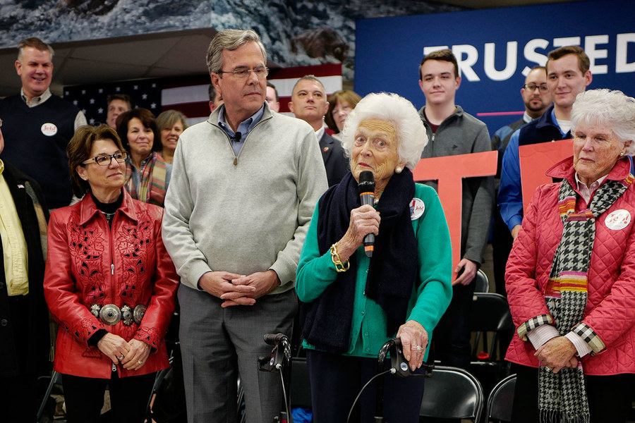 Former First Lady Barbara Bush campaigning for her son Jeb a week before the 2016 New Hampshire primary, in his quest for the Republican nomination. (cnn.com)