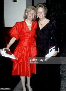 Maureen Reagan (in black) with CBS reporter Lesley Stahl at a Washington dinner. (Getty)