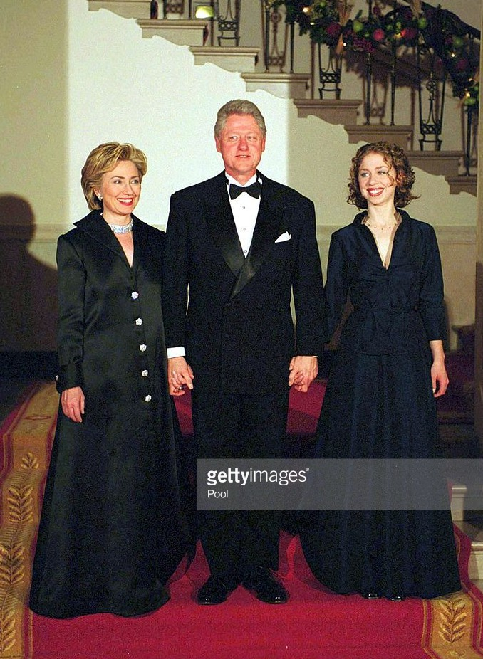 Chelsea Clinton served as host of the Millennium state dinner along with her parents. (Getty)