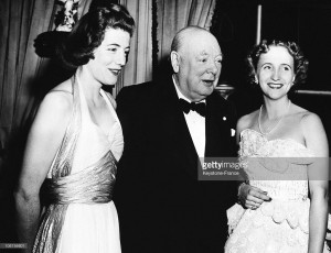 Margaret Truman at state dinner for British Prime Minister Winston Churchill also seen here with his daughter Sarah. (Getty)