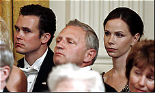 Barbara Bush at the 2007 state dinner where her choice of an escort (far left) led to press speculation about the nature of their relationship. (Washington Post)