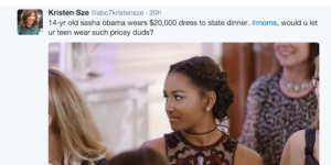 The tweet questioning the cost of the First Daughter's state dinner gown. (Twitter)