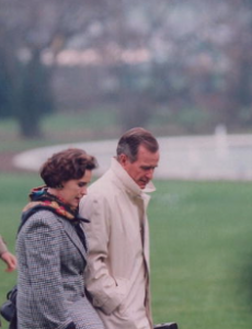 Doro Bush with her father President George Bush: they were especially close. (GBPL)