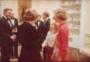 Amy Carter is introduced to British Prime Minister Margaret Thatcher by her mother, just prior to the state dinner held in the British leader's honor. (JCPL)