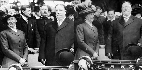 Nellie Taft and the President at the April 14, 1910 game between the Washington Nationals and Philadelphia Phillies when he threw out the first presidential baseball pitch. (LC)