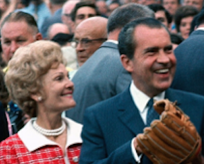 Pat Nixon with her husband at a July 14, 1970 Major League Baseballs All Star game at Cincinnati's Riverfront Stadium. (Getty)