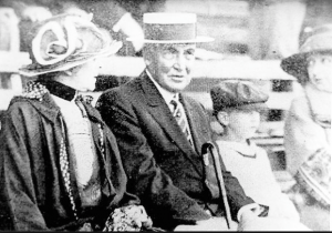 Florence Harding and the President at a baseball game. (LC)