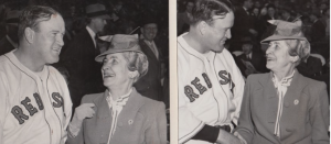 In 1946, First Lady Grace Coolidge chatted up Red Sox manager Joe Cronin before taking in a game. (Boston Globe)