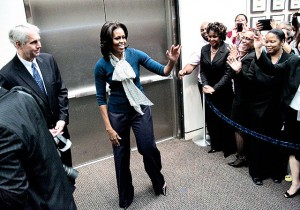Michelle Obama with Secret Service Director Mark Sullivan. (AP)