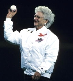 Mrs. Bush tosses another ball, this time at a World Series game. (Getty)