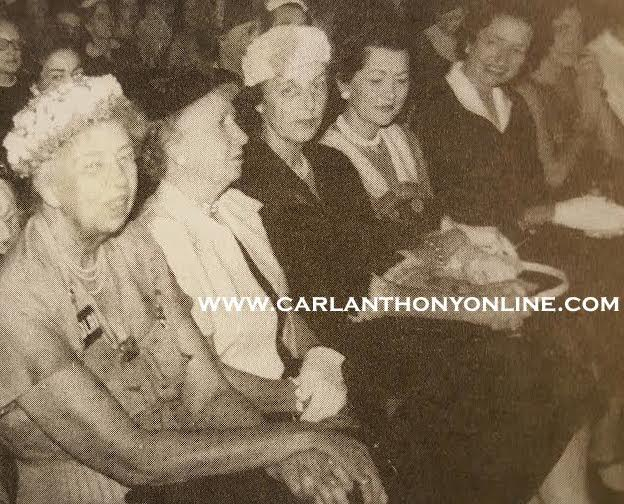 Eleanor Roosevelt, Bess Truman and, at the end of the row, Lady Bird Johnson, at the 1956 National Democratic Convention. (carlanthonyonline.com)