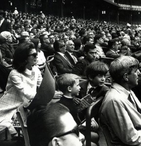 Jackie Kennedy at the Yankees' opening day game April 14, 1967, with her son and one of his friends.