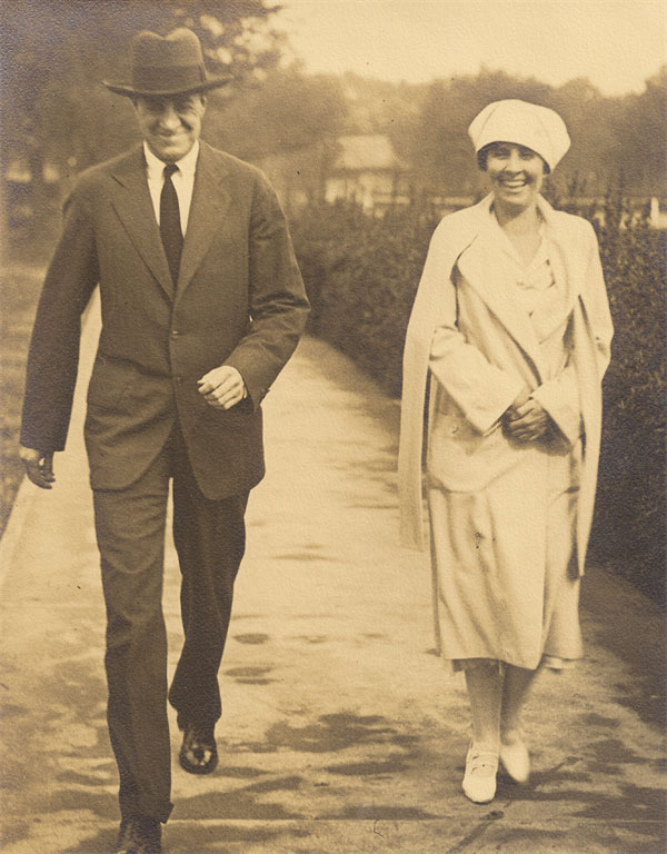 Jim Haley and Grace Coolidge during one of their daily long walks around Washington. (NFLL)