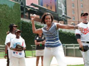 Mrs. Obama practices her pitch at Camden Yards. (WH)
