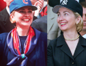 Hillary Clinton in a Chicago Cubs cap and then a New York Yankees ones. (Clinton Library and Getty)