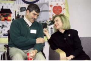 Hillary Clinton meets with a Gulf War veteran in 1995. (Getty)