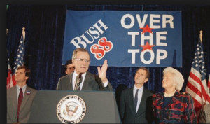 Barbara Bush at far right and Lee Atwater, at far left, at a 1988 rally for Bush.