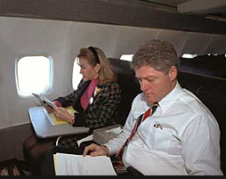Hillary and Bill Clinton working side-by-side on the 1992 campaign plane. (Time)