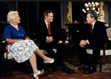 Barbara Bush during a joint interview with her husband during the 1988 presidential campaign. (GBPL)